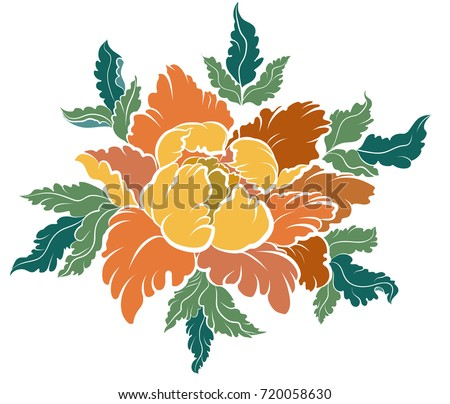 Hand Drawn Peony Flower Chinese Flower Vector Japanese Stock Vector