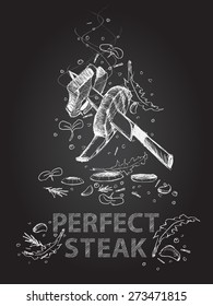 Hand drawn perfect steak quotes illustration on black chalkboard theme