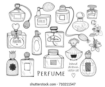 Hand drawn perfume bottles. Graphic vector set. All elements are isolated