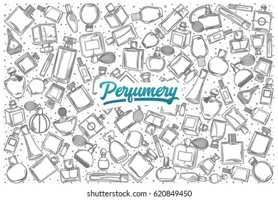 Hand drawn Perfumery doodle set background with blue lettering in vector