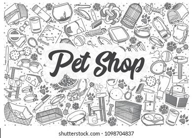 Hand drawn pet shop doodle set. Lettering - Pet shop