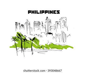 Hand drawn Philippines city scape sketch. Urban city view. Nature, architect picture. Touristic sight seeing. Print design, book, article illustration. Traveling. Memory postcard, invitation design.