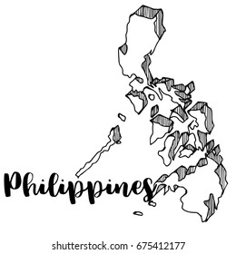Hand drawn of Philippines map, vector illustration