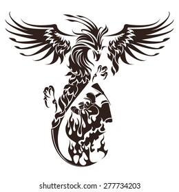 Hand drawn phoenix bird and firefighter. Vector line art.