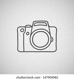 hand drawn photo camera on vintage background