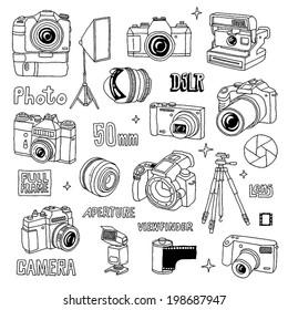 Hand drawn photo cameras set 1. Vector illustration.