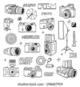 Hand drawn photo cameras set 2. Vector illustration.