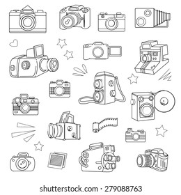 Hand drawn photo cameras set, vector illustration