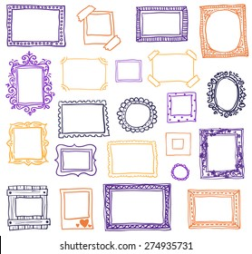 Hand drawn photoframes. Doodle vector illustration