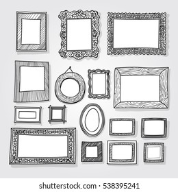 Hand drawn photoframes. Isolated on white background. Freehand drawing. Doodle vector illustration.