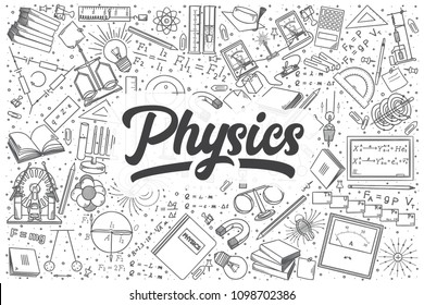 Hand drawn physics doodle set. Lettering - Physics