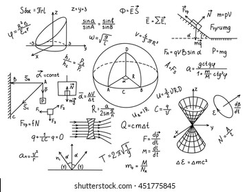 Hand drawn physics formulas Science knowledge education.