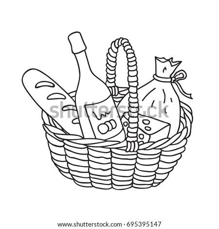 hand drawn picnic basket food wine stock vector royalty free