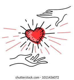 Hand Drawn Picture with Beating Heart in the Hands —Concept Art for Kindness Day. Vector Illustration.