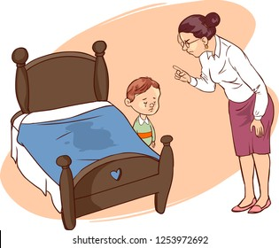 Hand drawn picture of young boy who has wet the bed.