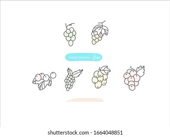 Hand drawn pictures.Grape illustrations. Black and white pattern fruit elements. perfect for invitations, greeting cards, prints, posters.