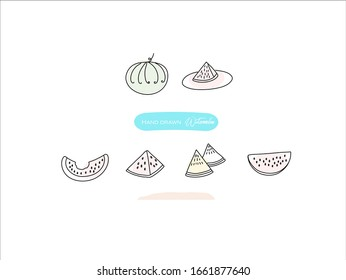 Hand drawn pictures.Watermelon illustrations. Black and white pattern fruit elements. perfect for invitations, greeting cards, prints, posters.