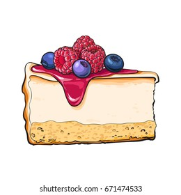 Hand drawn piece of cheesecake decorated with fresh berries, sketch style vector illustration isolated on white background. Realistic hand drawing of piece, slice of cheesecake