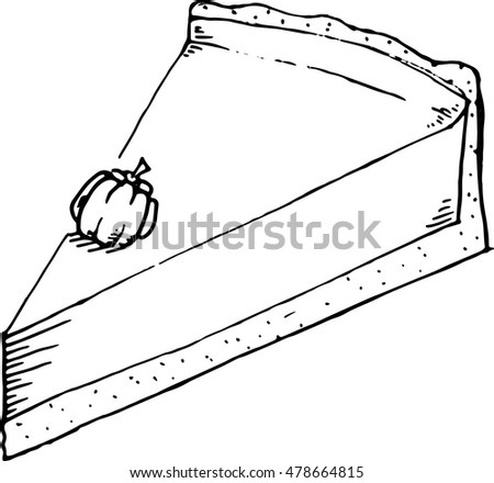 Hand Drawn Piece Pumpkin Pie Pumpkin Stock Vector Royalty Free