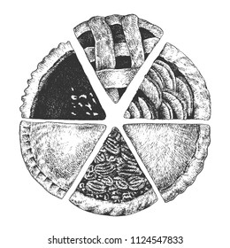 Hand drawn pies. Top view homemade a piece of sliced apple, chicken, yam, chocolate, pumpkin and pecan pie.