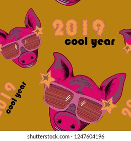 Hand drawn pig with cool sunglasses. Vector illustration of the symbol of the new year 2019. Seamless pattern.