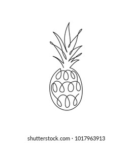 Hand drawn pinapple. Line contour drawing icon