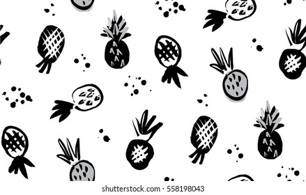 hand drawn pinapple repeat four way print black and white