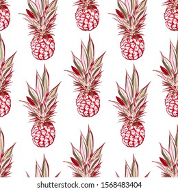 Hand drawn pinapple seamless pattern in vector sweet mood of summer vibes ,Design for fashion, fabric,web,wallpaper and all prints on white