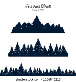 Hand drawn pine forest textured vector illustrations