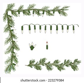 Hand drawn pine garland corner white twinkle light set with additional lights and pine graphics vector set