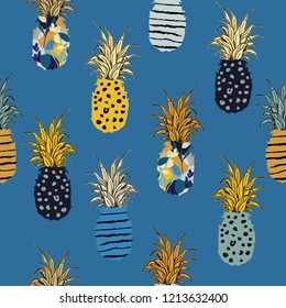Hand drawn pineapple fill-in with hand sketch line pattern seamless ,vector design for fashion,fabric,wallpaper,and all prints on summer blue background
