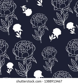 hand drawn pink camellia flowers with leaf in white outline seamless pattern on dark navy background