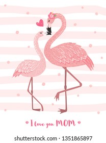 Hand drawn pink flamingo mom with its baby. Cartoon tropical bird. Mothers day card. Design element for poster, banner, t-shirt print and other. Vector illustration.