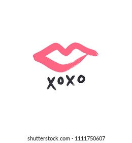Hand drawn pink lipstick kiss symbol, hugs and kisses text. Vector, clipart, isolated details. Editable elements
