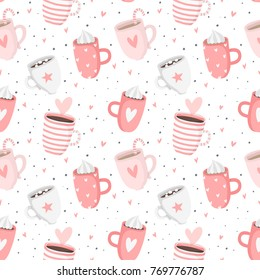 Hand drawn pink Valentine's Day romantic seamless pattern with cute cups, mugs, hearts, coffee, cocoa and more. Vector illustration background in pink and white colors