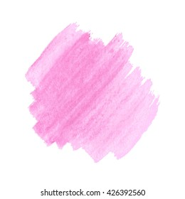 Hand drawn pink vector watercolor splash pattern on white. Beautiful  texture background.