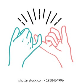 Hand drawn Pinky swear promise hand vector illustration icon