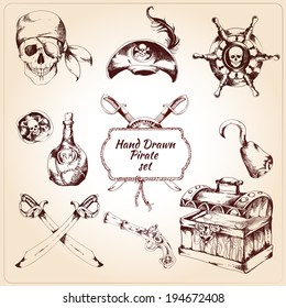 Hand drawn pirates decorative icons set of treasure chest steering wheel and rum bottle isolated vector illustration