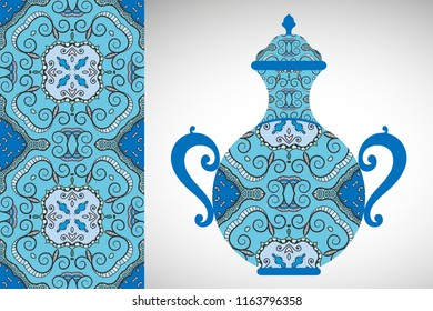 Hand drawn pitcher, vase with ornament and vertical seamless pattern. Decorative doodle texture, isolated elements for textile fabric, paper print, invitation or card design