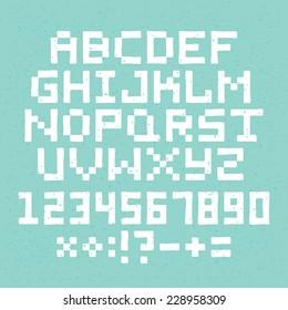 Hand drawn pixel art vector alphabet