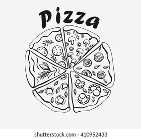 Hand drawn pizza with different slices
