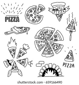 hand drawn pizza doodles