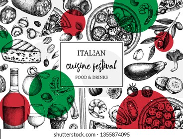 Hand drawn pizza and pasta top view frame. Italian food and drinks menu design template. Engraved style pizzeria illustration. Italian cuisine ingredients vintage sketch. For label, banner, package.