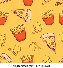 hand drawn pizza slice and french fries seamless pattern background