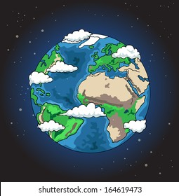 Hand drawn planet earth, vector illustration