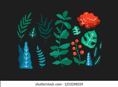 Hand drawn - plants and flower isolated on black background in trendy organic style. Vector illustration for vegetarian menu or packaging design.