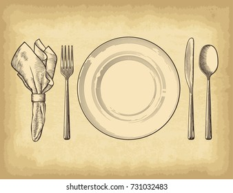 Hand drawn plate spoons, forks and knifes on old craft paper texture background. Engraved style vector illustration. Elements for your design works.