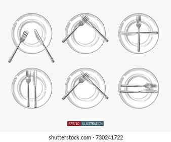 Hand drawn plates, forks and knifes. Cutlery signs etiquette. Engraved style vector illustration. Elements for your design works.