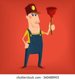 Hand drawn plumber character in cartoon style , eps10 vector format
