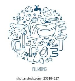 Hand drawn plumbing background.